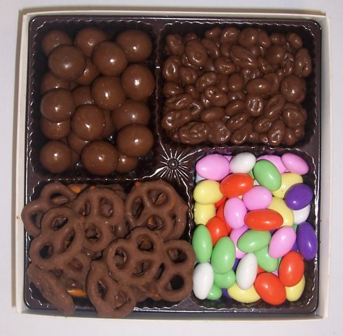 Scott's Cakes Large 4-Pack Chocolate Raisins, Chocolate Jordan Almonds, Chocolate Pretzels, & Chocolate Malt Balls