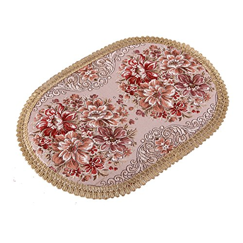 Aothpher Set of 4 Modern Elegant Oval Place Mats Red Polyester Embroidered Washable Floral Pattern Placemats 12x18 Inch ()