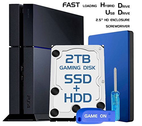Skywin PS4 Slim High Performance SSHD (SSD+HDD) 2TB Playstation 4 Hard Drive Upgrade kit for PS4 slim storage expansion w/ Guide, PS4 HDD, USB Flash Drive, Screwdriver, and HD Enclosure by Skywin