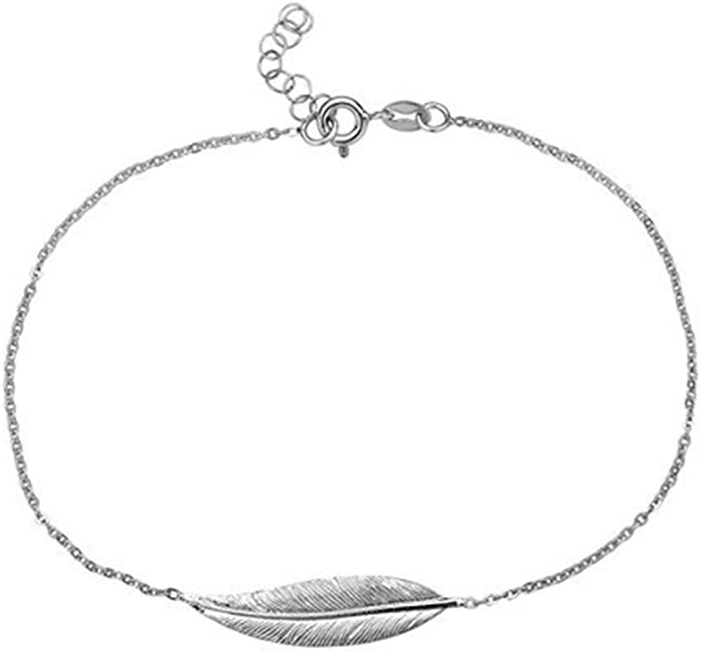 92087-9 extra grande,/plata de ley 925 de 22,8 a 25,4 cm tobillera con pluma//cadena para tobillo//pulsera Tobillera para dama