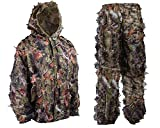 Ultra Light Mesh Camouflage Ghillie Leafy Hunting Camo Suit Jacket Pants Brown (XXL)