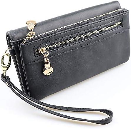 HEIMIAOMIAO Damenbrieftasche Elegante Brieftasche Frauen luxusmarke berühmte Designer einfache große Armband pu kartenhalter Lange Frauen geldbörsen, schwarz