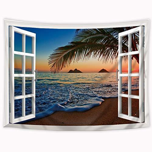 Riyidecor Pacific Sunrise Tapestry Hawaiian Beach Sea Tropical Colorful Sky Ocean Surface Landscape Palm Leaves Window 60X80 Inch Wall Hanging Bedroom Living Room Decor Blue Orange