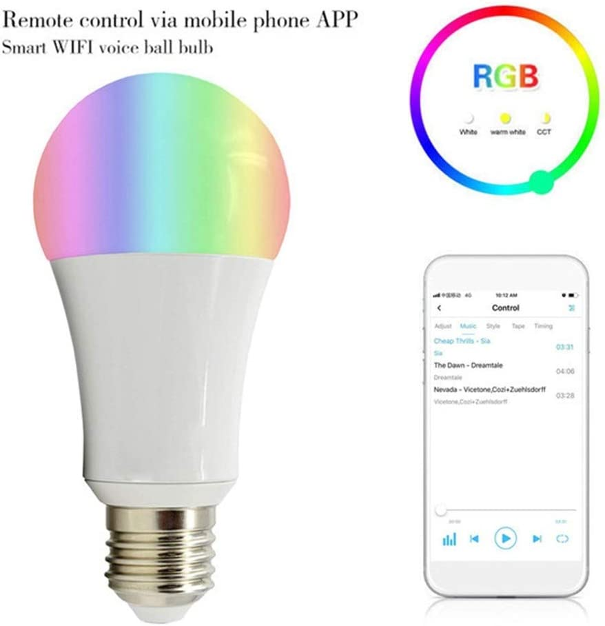 Smart Bulb WiFi Led Bulb E27 7W 600LM Multicolored RGB Smart Light Bulb Compatible with Alexa and Google Home