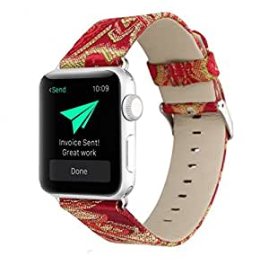 Apple Watch Replacement Band, Designer Silk Stitched Over Genuine Soft Leather for Women by Pantheon, For the 38mm or 42mm, the Straps fit the Apple iWatch Series 3, 2, 1 and Nike Edition