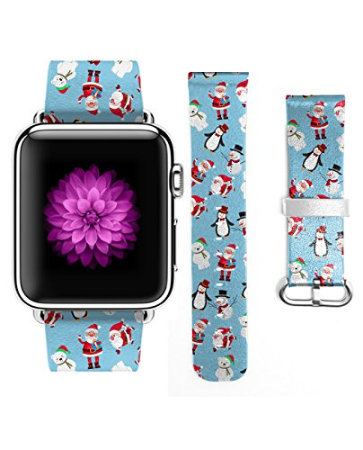 Apple Watch Band, Genuine Leather Strap Wrist Band for Apple Watch 38mm Snowman Stanta Claus and (Fells Point Halloween)