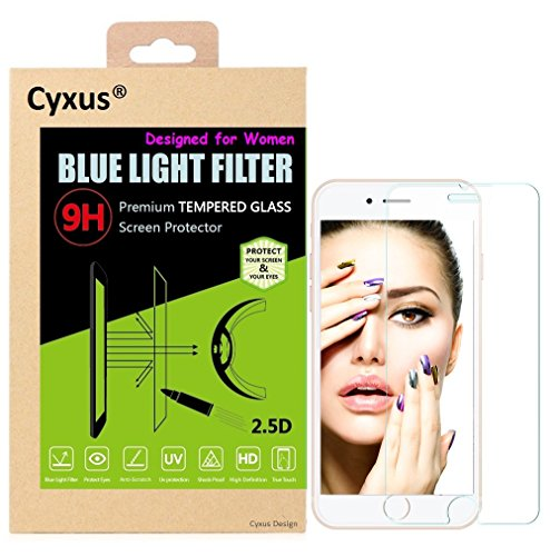 Cyxus UV & Harmful Blue Light Filter [Sleep Better] Thinnest [0.2mm] Ray Film H) Clear Blocking 9H Tempered Glass Screen Protector for Apple iPhone 6 / 6s (4.7 inch) Great for Women, Protect the Skin