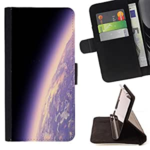 DEVIL CASE - FOR Sony Xperia Z2 D6502 - Earth Planet Atmosphere Purple Universe Cosmos - Style PU Leather Case Wallet Flip Stand Flap Closure Cover
