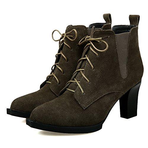 BalaMasa Womens No-Closure Solid Pointed-Toe Microfiber Boots Green HAvvtA1vK