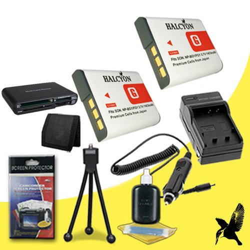 Two Halcyon 1400 mAH Lithium Ion Replacement NP-BG1 Battery and Charger Kit + Memory Card Wallet + Multi Card USB Reader + Deluxe Starter Kit for Sony Cybershot DSC-W55, 7.2 Megapixel, 3x Optical/2x Digital Zoom, Digital Camera and Sony NP-BG1