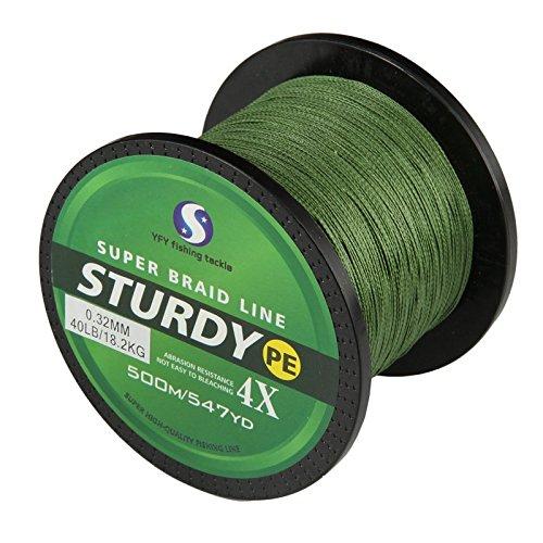 FyshFlyer STURDY 4X-PE Braided Fishing Line – 500M(547 Yard) Premium Quality; Super Power; Cut Resistant – Green