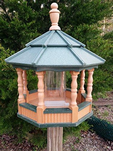 Large Spindle Poly Bird Feeder Amish Handcrafted Handmade Garden Yard Cedar & Green Roof