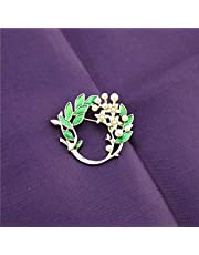 CXBH Hand Green Dripping Glaze Lily Of The Valley Pineapple Brooch Plant Style Boutonniere Imitation Pearls Clothing Accessory Pin (Metal color : Light Yellow Color)
