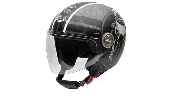 Amazon.es: NZI 050256G587 Helix IV Freedom Motors Casco de Moto, Ilustración De Motorista, Gris y Negro, Talla 54