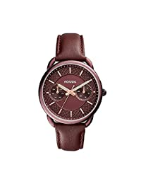 Fossil Women's Quartz Stainless Steel and Leather Casual Watch, Color:Red (Model: ES4121)