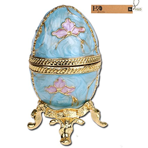 Shaped Hinged Box (YUFENG Faberge Style Egg Shaped Trinket Box Hinged Jewelry Ring Holder Collectible Figurine Boxes w/ Crystals)