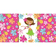 Creative Converting Pink Luau Fun Plastic Table Cover, 54 by 108-Inch