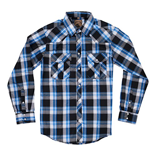 Men's Casual Long Sleeve Plaid Shirt with Pearl Snaps (Black/Blue #19,XL)