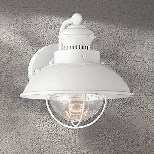 Fordham Industrial Farmhouse Outdoor Barn Light Fixture LED White 8 1/4″ Clear Seeded Gla