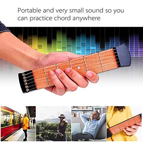KENGEL Pocket Guitar Practice Neck, Finger Exercise, 4, 6 Fret Portable Guitar Trainer Practice Tool for Beginner Chord Trainer Fingering (6fret)