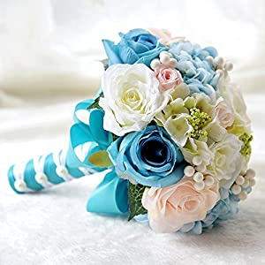 Abbie Home Wedding Bridal Bouquets Rose Penoy Bridemaid Holding Toss Silk Flowers-Tiffany Blue 117