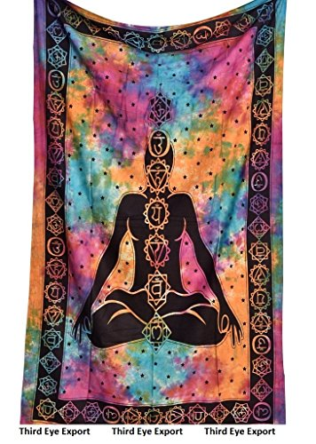 Chakra Design - Third Eye Export Hippie Mandala Yoga Meditation Bohemian Twin Tapestries Psychedelic Intricate Hand Made Tie Dye Design Indian Bedspread Sevan Chakra Magical Thinking Tapestry