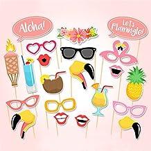 Boger 21pcs Flamingo Tropical Hawaiian Summer Hen Photo Booth Props Party Accessories