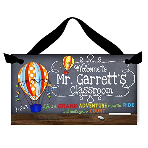 Toad and Lily Teacher Chalkboard Classroom with Grand Adventure Quotation Saying Door Sign Teacher End of Year Gift TDS021 -