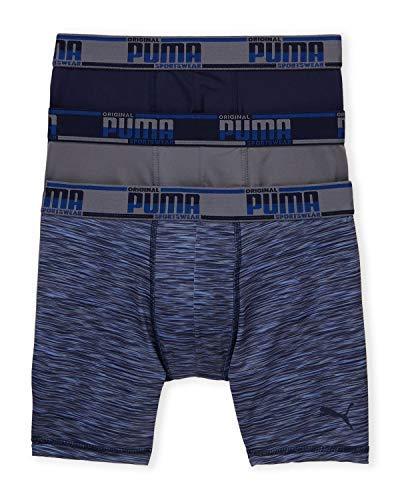 PUMA Men's 3-Pack Sport Style Performance Boxer Briefs (Navy/Grey, X-Large)