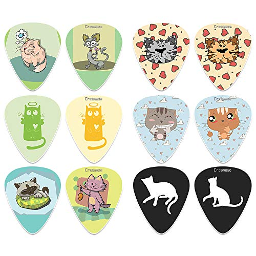 Creanoso Cat Guitar Picks (12-Pack) - Unique Music Gifts & Guitar Accessories for Girls Women Men Dad Boyfriend Son Boys Musician Gift Cat Owners - Medium Gauge Celluloid - Fingerstyle guitar picks (Best Guitar For Fingerstyle And Strumming)