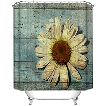 Morning-sunshine Abstract Style Oak Tree Wood and Daisy Gerbera Flower Shower Curtain, Waterproof Polyester fabric Bath Curtain Hooks included, Green/Yellow (65Wx72H)