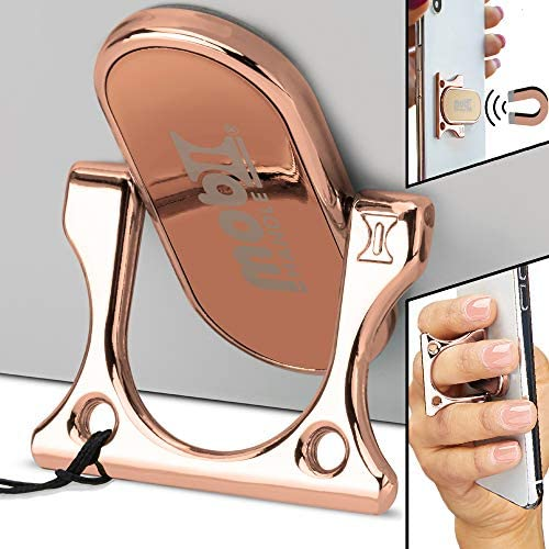 3 Finger Phone Ring Holder Kickstand – MOBI HANDLE Comfy Secure Grip, Scratch Resistant Durable Light Metal, Ideal for Magnetic Car Mount or Stand, Gift Idea, w/Wrist Strap [Rose Gold]