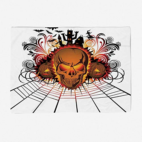 YOLIYANA Blanket Bedspread Soft Fleece Throw Blanket/78x59 inches/Halloween Decorations,Angry Skull Face on Bonfire Spirits of Other World Concept Bats Spider Web,Multi