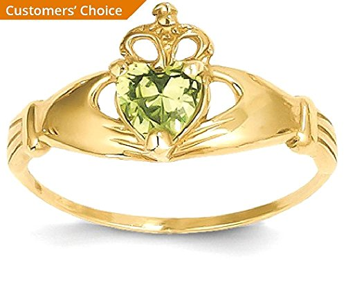 ICE CARATS 14k Yellow Gold Cubic Zirconia Cz August Birthstone Irish Claddagh Celtic Knot Heart Band Ring Size 7.00 Style Fine Jewelry Gift Set For Women Heart by ICE CARATS (Image #3)