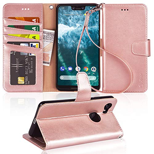 Google Pixel 3 XL Case, Arae [Stand Feature] PU Leather Wallet case with Wrist Strap and [4-Slots] ID&Credit Cards Pocket for Google Pixel 3 XL - Rose Gold