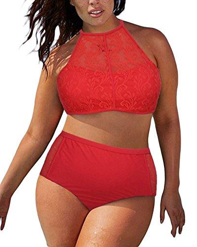 Lalagen Women's Strappy Vintage Lace 2 pieces Bikini Set Plus Size Swimsuit Red XXL