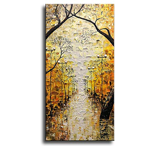 Asdam Art-Landscape Art 100% Hand Painted Tree Wall Art 3D Oil Paintings On Canvas Yellow Romantic Street Art Abstract Vertical Wall Art for Living Room Bedrooms Office Hallway(24x48inch)
