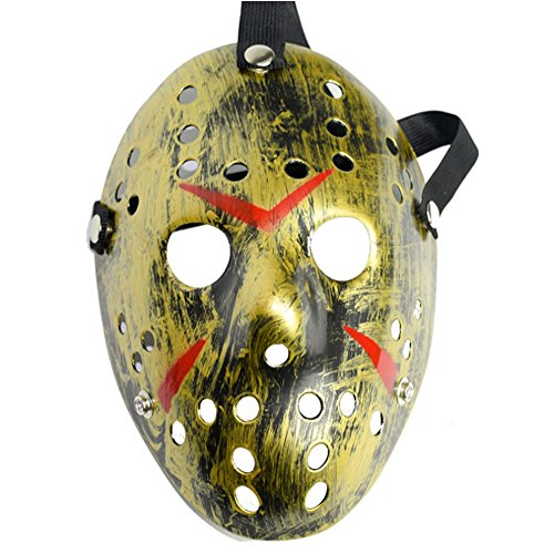Chen Friday The 13th Horror Hockey Jason Vs. Freddy Mask Halloween Costume Prop (Gold)