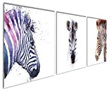 zebra decor for kitchen - Gardenia Art - Animal World Series Ink Zebra Canvas Prints Modern Wall Art Paintings Blue and Brown Horses Artwork for Room Decoration,12x12 inch Per Piece, Stretched and Framed