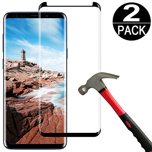 [2 Pack]Samsung Galaxy S9 Plus Screen Protector Tempered Glass Film [Case Friendly][Anti-Bubble][3D Curved][3d Full Coverage][9H Hardness][HD Clear]Tempered Glass Screen Protector for Galaxy S9 Plus