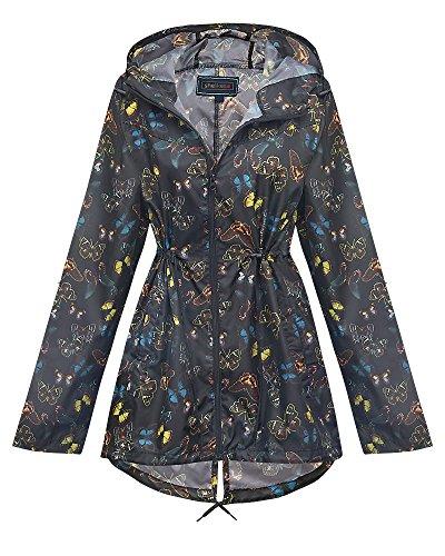 Shelikes New Ladies Hooded Daisy Raincoats Sizes XS-XXL (L, Multi Butterfly)