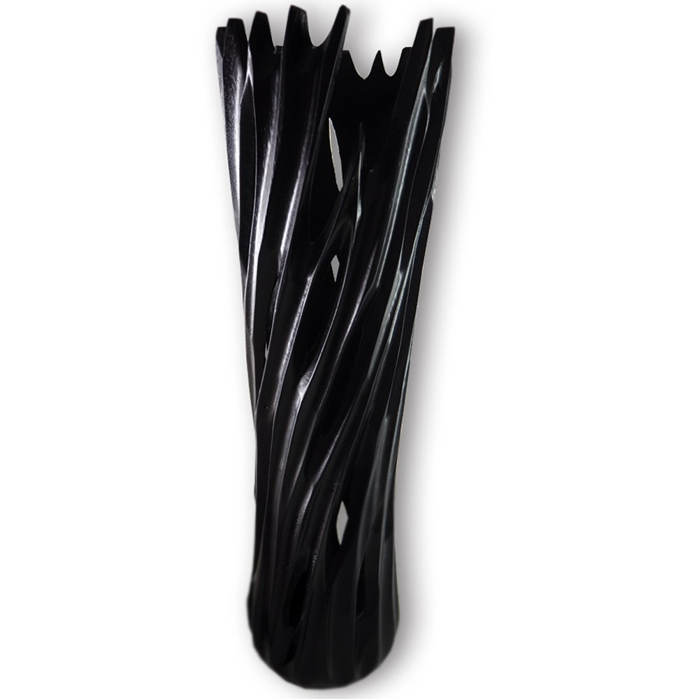 RoRo 14 Inch Tall Gothic Handcarved Black Wood Vase with grooves
