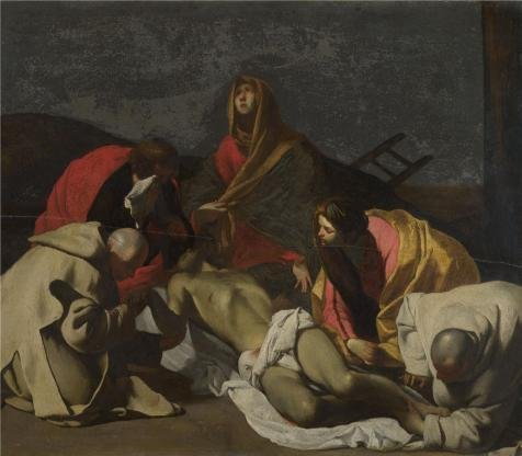 18th Century Wallpaper - 'After Massimo Stanzione - Monks And Holy Women Mourning Over The Dead Christ,18th Century Or Earlier' Oil Painting, 30x34 Inch / 76x87 Cm ,printed On High Quality Polyster Canvas ,this Best Price Art Decorative Canvas Prints Is Perfectly Suitalbe For Bar Gallery Art And Home Decor And Gifts
