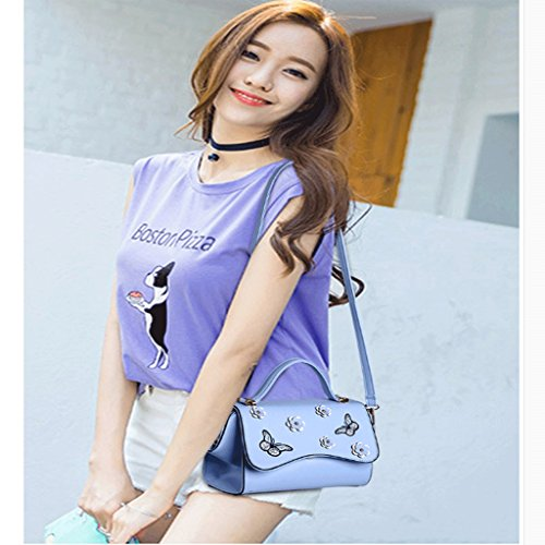 Fashion Small Tote Blue Wings Flower Messenger Personality Butterfly Ladies Embroidery Color Handbag DEI Shoulder Bag QI Black PqfwtxS