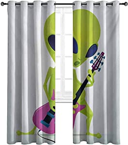 Opehodecor Popstar Party Living Room Curtains Cartoon Alien Character Playing Electric Guitar Music Monster Drapes for Bedroom and Sliding Glass Door 84 x 72 inch