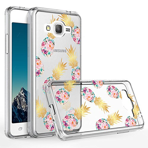 Galaxy Grand Prime Case,Samsung Galaxy G530 Case,DOUJIAZ Slim Shockproof Clear Floral Pattern Soft Flexible TPU Back Cover for Samsung Galaxy G530 G530H S920C(7 Pineapple Flower)