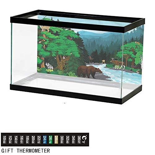 - bybyhome Fish Tank Backdrop Cabin,Evening Mountains Animals,Aquarium Background,36