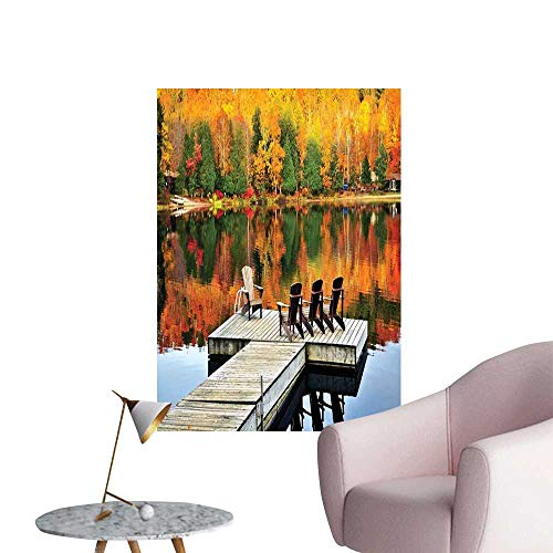 Alexandear Landscape Wall Mural Wallpaper Stickers Chairs on Wooden Dock Vibrate Color Fall Forest Reflection Lake View Men