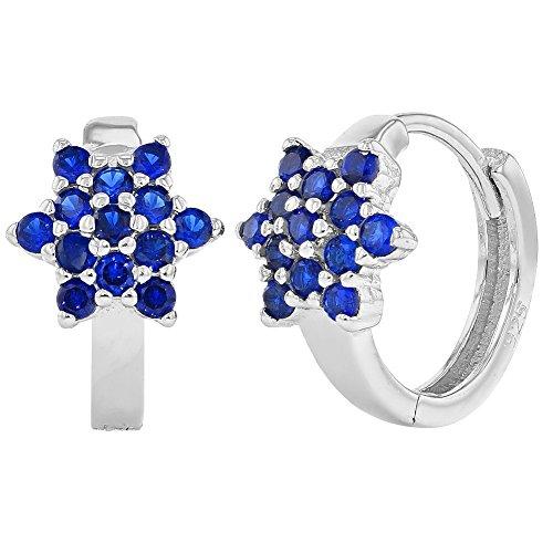925 Sterling Silver Flower Huggie Blue Childrens Girls Earrings 0.39