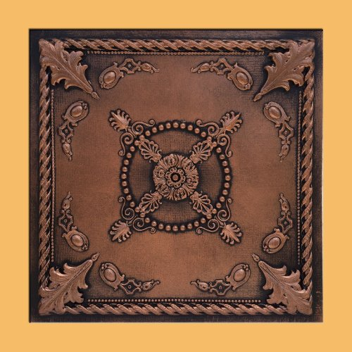 "Jewel Copper/Black (24x24"" PVC 20 mil) Ceiling Tile - Drop in Grid or Staple/Glue Application"
